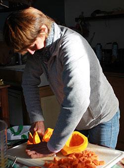 Préparation soupe butternut
